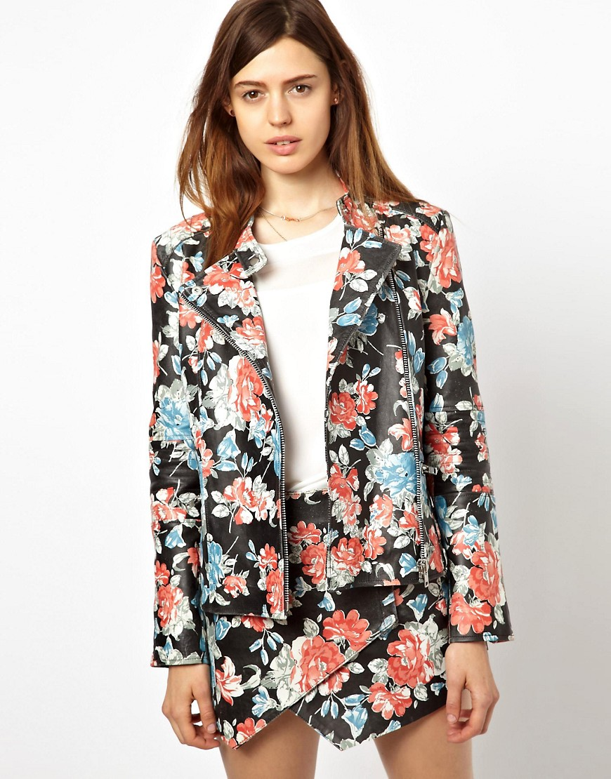HIDE Emma Quilted Leather Biker Jacket in Floral Print - Multi