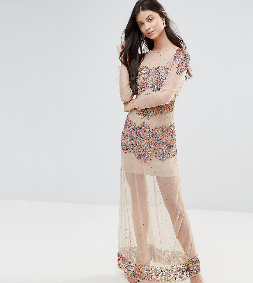 Maya Petite Allover Embellished Mesh Insert Maxi Dress