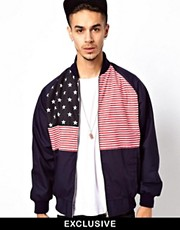 Reclaimed Vintage Varsity Jacket with American Flag Print