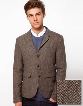 Image 1 ofASOS Slim Fit Blazer In Brown Herringbone