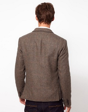 Image 2 ofASOS Slim Fit Blazer In Brown Herringbone