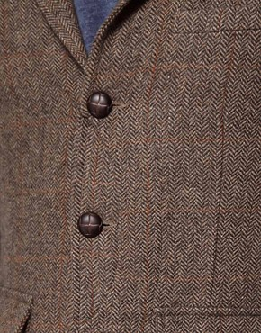Image 3 ofASOS Slim Fit Blazer In Brown Herringbone