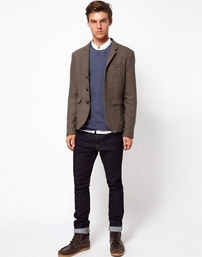 Image 4 ofASOS Slim Fit Blazer In Brown Herringbone