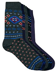 River Island Disty Aztec 5 Pack Socks