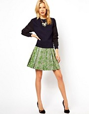 ASOS Leather Skater Skirt in Snake