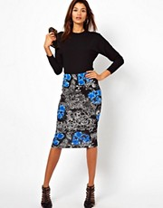 ASOS Pencil Skirt in Floral Wallpaper Print