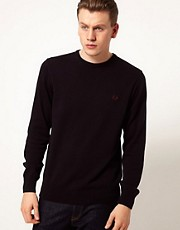 Fred Perry Jumper with Needlepunch Tartan Elbow Patches