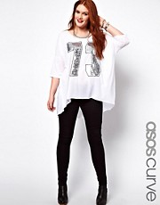 ASOS CURVE Dip Back Top With Sequin Number