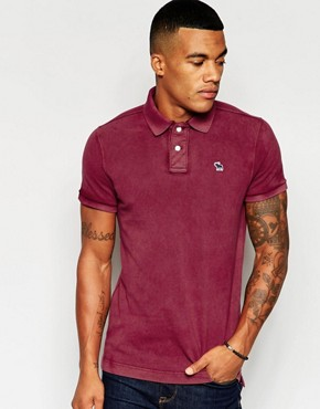Abercrombie & Fitch Polo In Slim Muscle Fit Burgundy