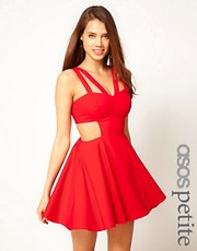 ASOS PETITE Exclusive Skater Dress with Cut Out