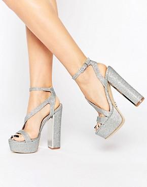 Lipsy Billie Silver Thread Platform Heeled Sandals