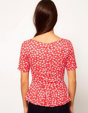 Image 2 ofPeople Tree Organic Cotton Floral Peplum Top