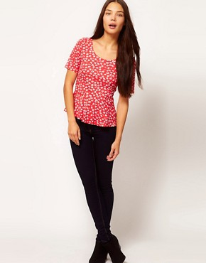 Image 4 ofPeople Tree Organic Cotton Floral Peplum Top