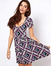 ASOS Skater Dress In Tribal Print