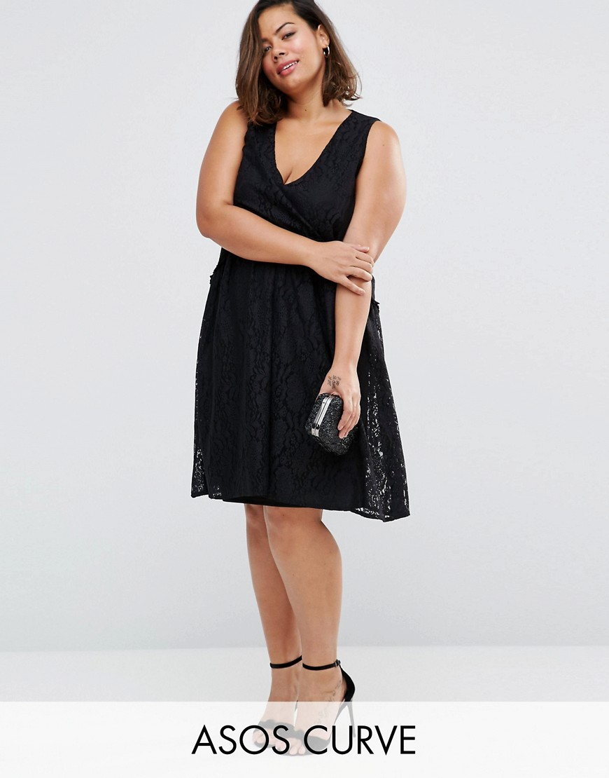 ASOS CURVE Lace Smock Dress - Black