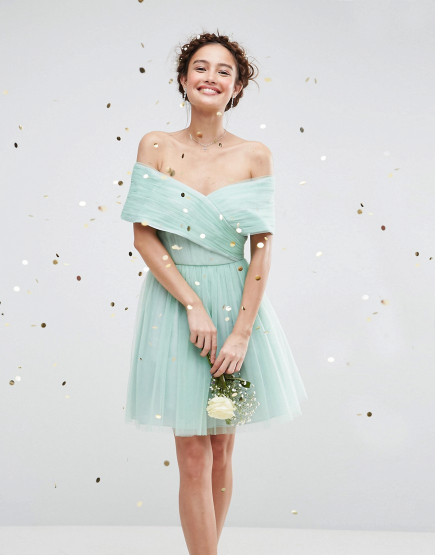 ASOS WEDDING Tulle Mini Dress - Mint