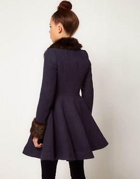 Image 2 ofA Wear Faux Fur Trim Fit &amp; Flare Coat