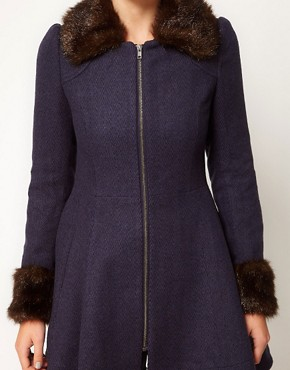 Image 3 ofA Wear Faux Fur Trim Fit &amp; Flare Coat