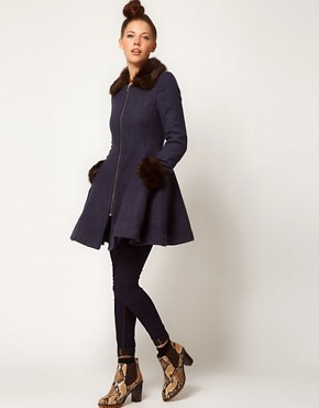 Image 4 ofA Wear Faux Fur Trim Fit &amp; Flare Coat