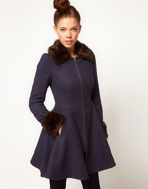Image 1 ofA Wear Faux Fur Trim Fit &amp; Flare Coat