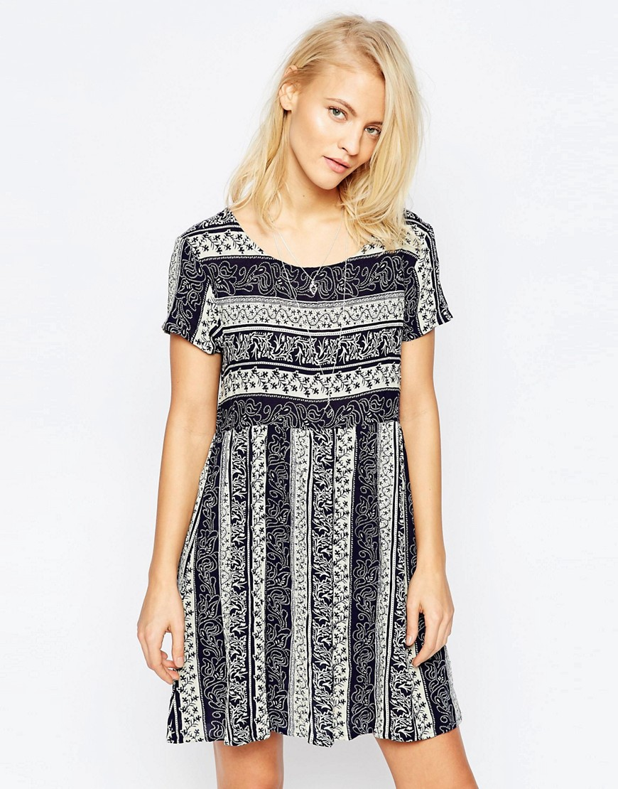 Brave Soul Short Sleeve Printed Smock Dress - Navy