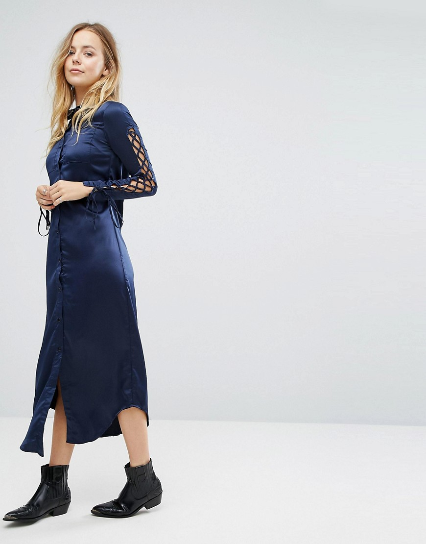 Glamorous Shirt Dress With Lace Up Sleeves - Navy