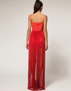 Image 2 ofAqua Flapper Structured Maxi Fringe Bandeau Dress