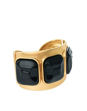 Image 1 of Kenneth Jay Lane Gold Cuff With Black Stones