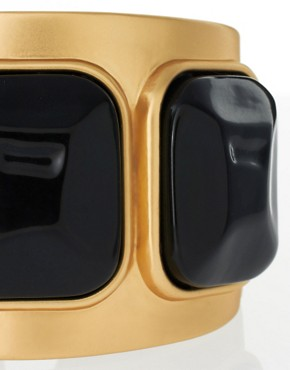 Image 4 of Kenneth Jay Lane Gold Cuff With Black Stones