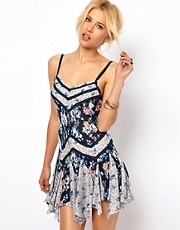 Free People Mixed Print Slip Dress