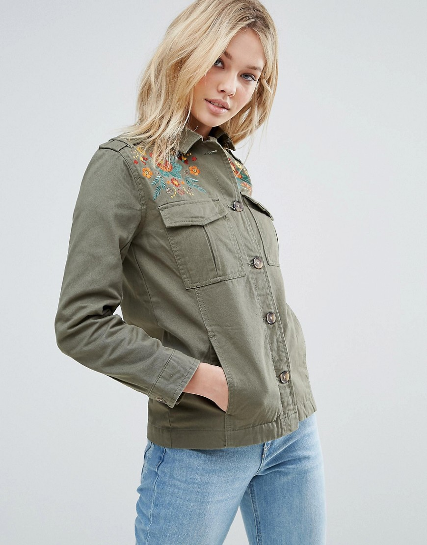 Brave Soul Embroidered Festival Jacket - Green