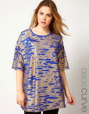 Image 1 ofASOS CURVE Tunic In Cobalt Metallic