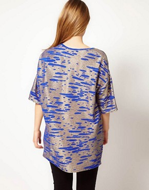 Image 2 ofASOS CURVE Tunic In Cobalt Metallic