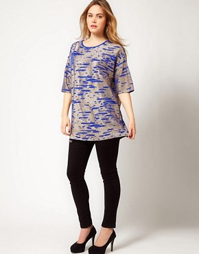 Image 4 ofASOS CURVE Tunic In Cobalt Metallic