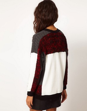 Image 2 of ASOS Oversize Jumper with Fluffy Panel