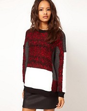 ASOS Oversize Jumper with Fluffy Panel