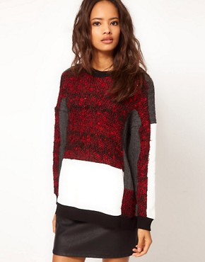 Image 1 of ASOS Oversize Jumper with Fluffy Panel