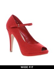 New Look Wide Fit Pout Red Peep Toe Mary Jane Shoes