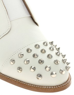 Image 2 of ASOS MITCHELL Leather Flat Shoes with Spike Detail