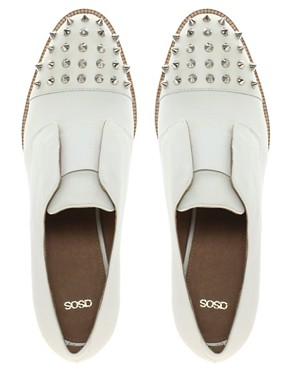 Image 3 of ASOS MITCHELL Leather Flat Shoes with Spike Detail