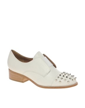 Image 1 of ASOS MITCHELL Leather Flat Shoes with Spike Detail