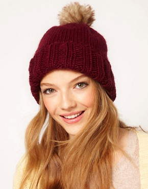 Image 1 ofASOS Faux Fur Pom Boyfriend Beanie