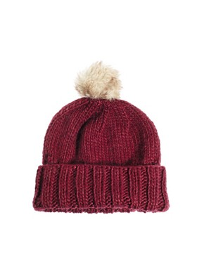 Image 2 ofASOS Faux Fur Pom Boyfriend Beanie
