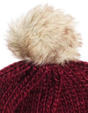 Image 3 ofASOS Faux Fur Pom Boyfriend Beanie
