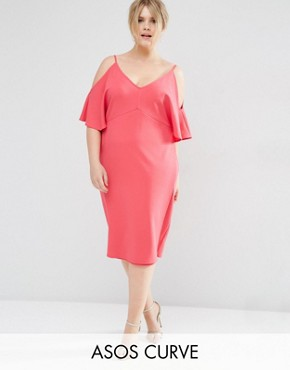 ASOS CURVE Pencil Dress with Cold Shoulder
