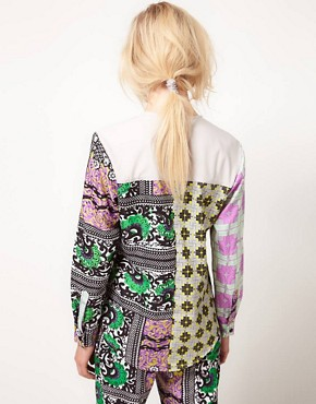 Image 2 ofASOS AFRICA Collarless Shirt In Geo Print
