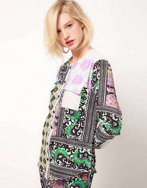Image 1 ofASOS AFRICA Collarless Shirt In Geo Print