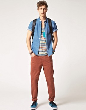 Image 4 ofASOS Slim Chino with Contrast Aztec Pocket