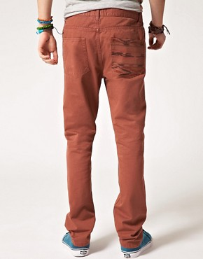 Image 1 ofASOS Slim Chino with Contrast Aztec Pocket