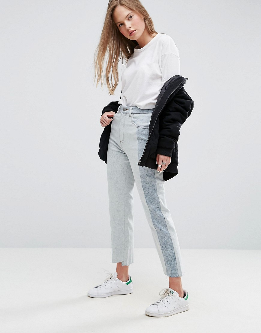 ASOS Deconstructed Straight Leg Jeans In Tonal 80s Bleach Light Acid Wash - Light wash blue